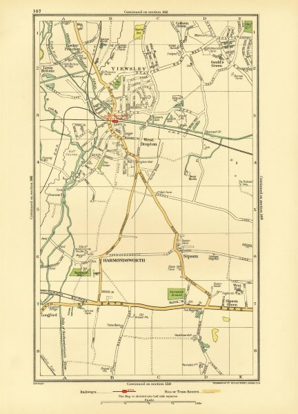 Associate Product YIEWSLEY WEST DRAYTON. Hayes Heathrow Harmondsworth Sipson Cowley 1933 old map