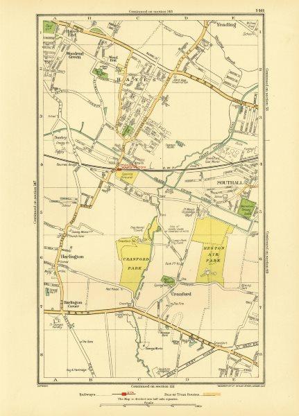 Associate Product HAYES SOUTHALL. Cranford Hounslow Harlington Heathrow Heston Yeading 1933 map