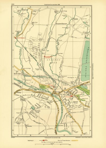 STAINES. Egham Hythe Stanwell Moor Thorpe Hythe End Horton Wraysbury 1933 map