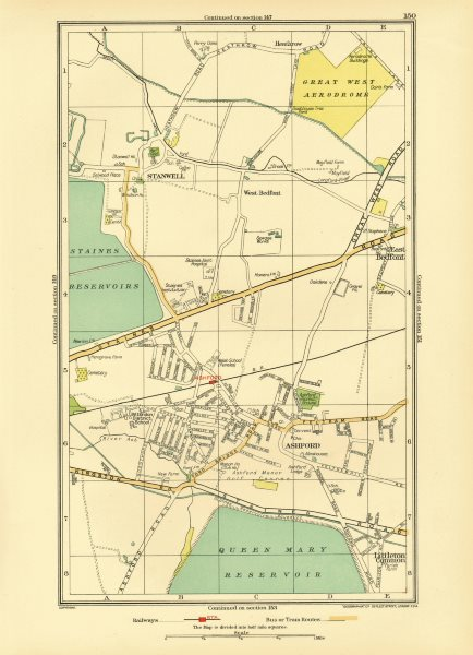 ASHFORD STAINES-UPON-THAMES. Stanwell Feltham Heathrow Bedfont 1933 old map