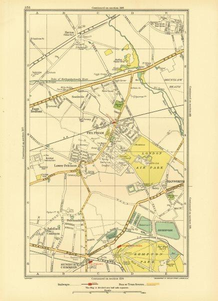 Associate Product FELTHAM. Hounslow Hatton Sunbury Common Hanworth Ashford Common 1933 old map