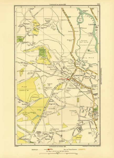 Associate Product CHERTSEY. Addlestone Chertsey Ottershaw Thorpe Rowhill Laleham (Surrey) 1933 map