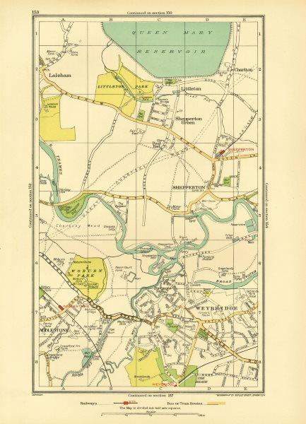 Associate Product WEYBRIDGE. Halliford Shepperton Littleton Addleston Laleham Charlton 1933 map
