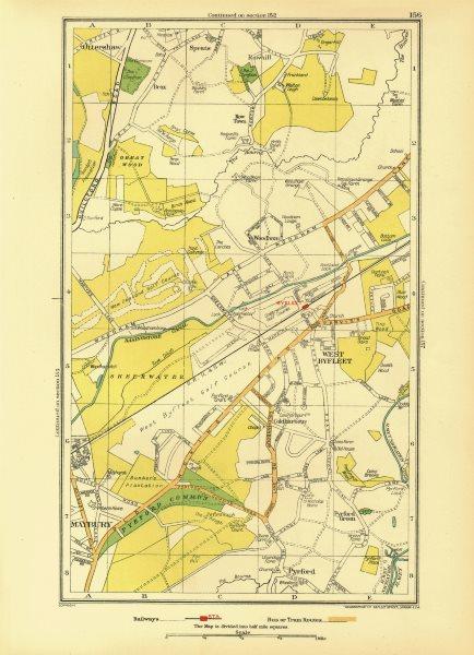 Associate Product WEST BYFLEET. Row Town Addlestone Woodham Sheerwater Maybury Pyrford 1933 map