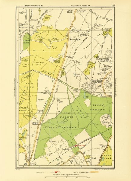 Associate Product ASHTEAD. Ewell Chessington Claygate Horton Epsom Common Hook 1933 old map