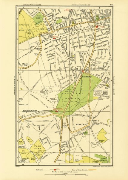 Associate Product SUTTON CHEAM BANSTEAD. Belmont Nork East Ewell Carshalton Beeches 1933 old map