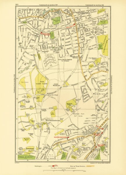 Associate Product COULSDON WALLINGTON. Carshalton Woodmansterne Woodcote S. Beddington 1933 map