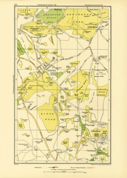Associate Product SELSDON. Addington Chelsham Farleigh Hamsey Green Forestdale Shirley 1933 map
