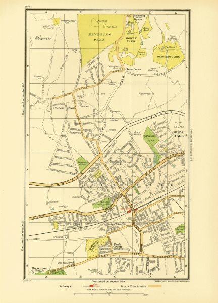 Associate Product ROMFORD. Collier Row Rush Green Havering-atte-Bower Rise/Gidea Park 1933 map