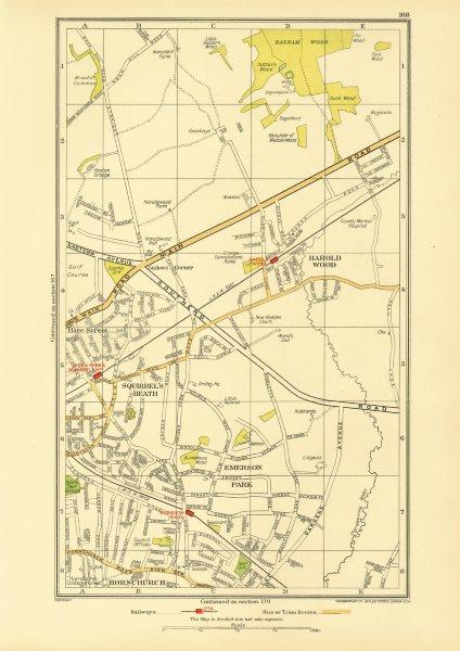 Associate Product ROMFORD. Hornchurch Harold Wood Emerson Park Harold Hill Upminster 1933 map