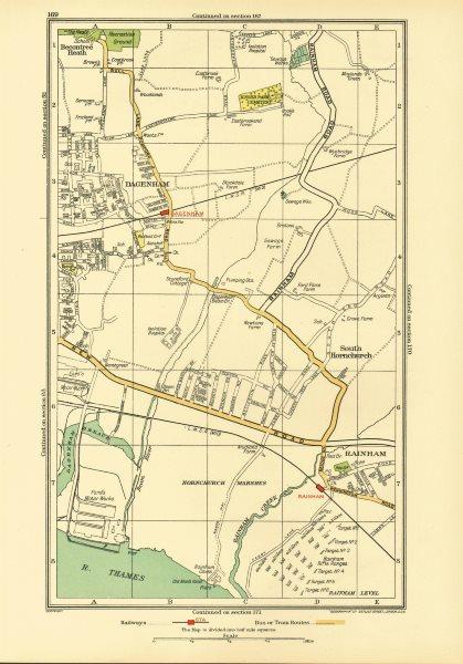 Associate Product DAGENHAM. Rainham South Hornchurch Elm Park Motor Works (Essex) 1933 old map