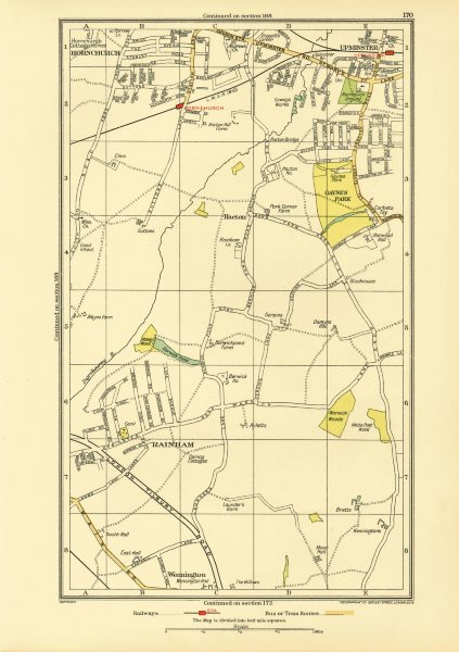 Associate Product HORNCHURCH UPMINSTER. Rainham Corbets Tey Wennington (Essex) 1933 old map