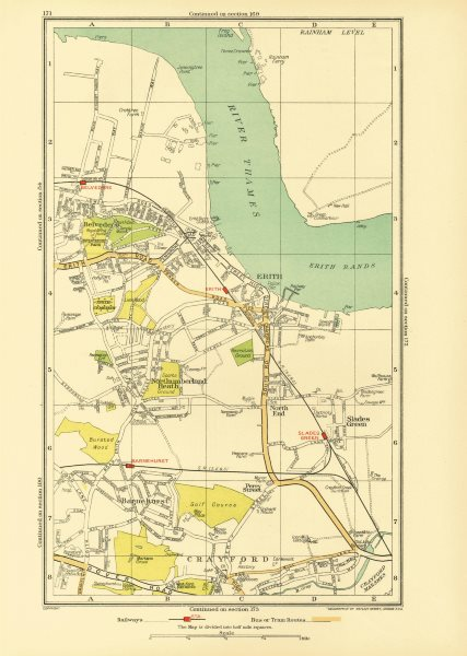 Associate Product ERITH. Crayford Barnehurst Slade Green Belvedere Northumberland Heath 1933 map