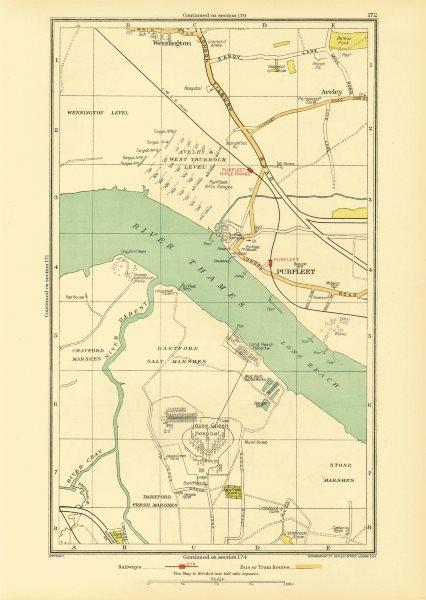 Associate Product DARTFORD PURFLEET. Aveley Wennington Rainham Temple Hill (Essex/Kent) 1933 map