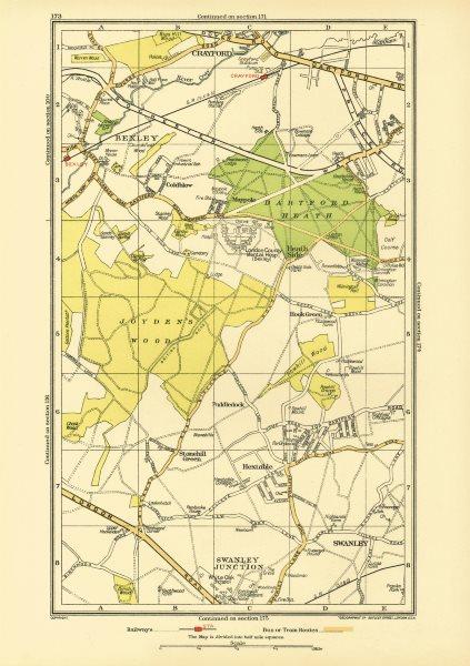 Associate Product DARTFORD. Crayford Hextable Old Bexley Swanley Hook Green White Oak 1933 map