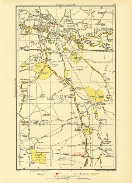 Associate Product DARTFORD. South Darenth Sutton at Hone Hawley Wilmington (Kent) 1933 old map