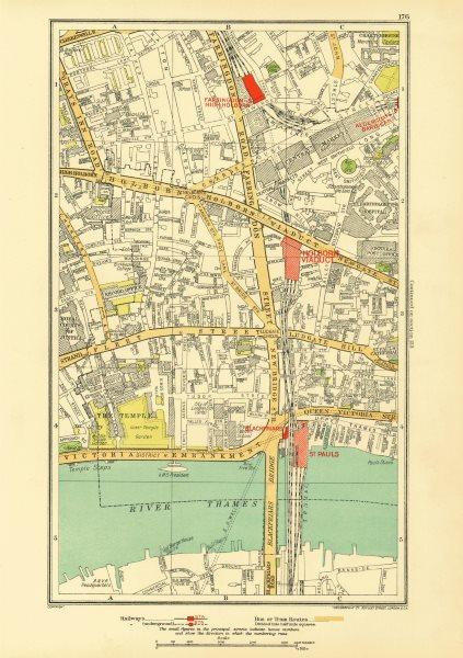 Associate Product LONDON. Holborn Farringdon Fleet St Chancery Lane 1933 old vintage map chart