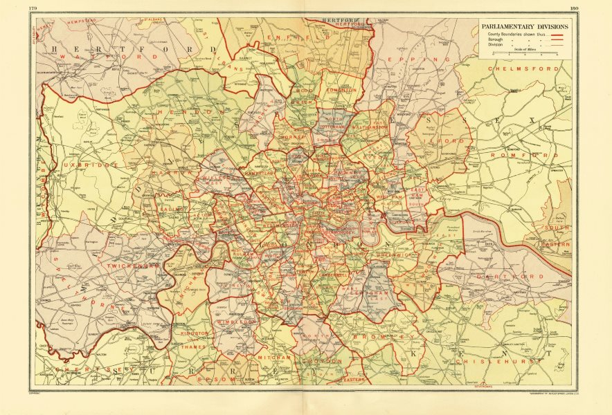 Associate Product LONDON. Parliamentary Divisions Constituencies Seats Boroughs 1933 old map