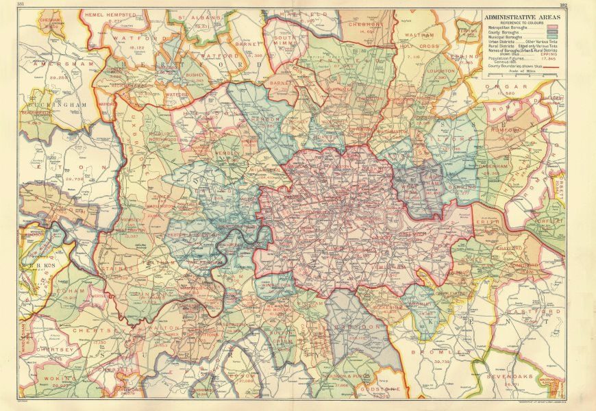 Associate Product LONDON. Administrative Areas. Municipal Boroughs Local Authorities 1933 map