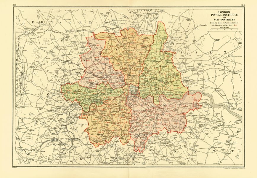 Associate Product LONDON. Postal Districts and Sub-Districts. Postcodes 1933 old vintage map
