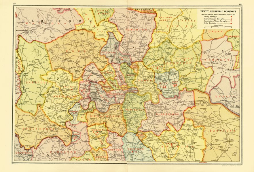 Associate Product LONDON. Petty Sessional Divisions. Quarter Session boroughs 1933 old map