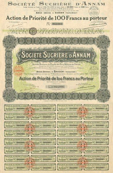 Société Sucrière d'Annam. Pref share. Action de priorité. French Indochina 1929