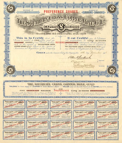 Associate Product The Southern Cross Copper Mine Co Ltd. 5 Preference shares of £1 each 1906