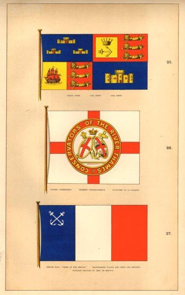 Associate Product MARITIME FLAGS. Cinque Ports; Thames Conservancy; Francais Chef de Service 1873