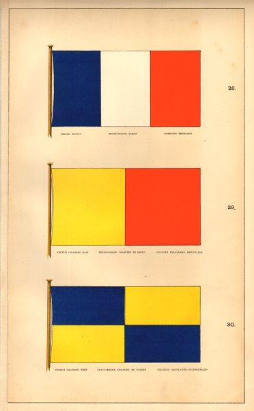 Associate Product FRANCE COLONIES FRANCAISES FLAGS.Orientales/Occidentales East/West Pavillon 1873
