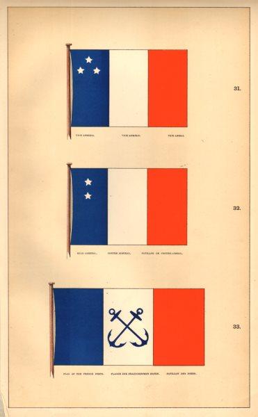 Associate Product FRANCE MARITIME FLAGS.Vice & Rear/Contre-Admiral/Amiral; Pavillon Des Ports 1873