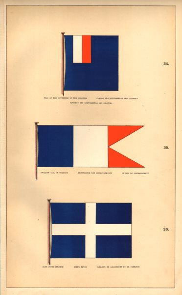 FRANCE FLAGS PAVILLONS.Colonial Governors. Swallow Tail Command. Blue Peter 1873