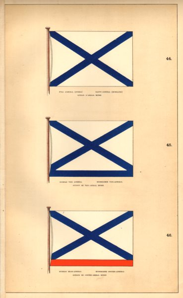 Associate Product RUSSIAN IMPERIAL NAVAL FLAGS. Full, Vice- & Rear-Admiral. HOUNSELL 1873 print
