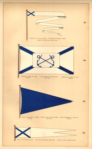 Associate Product RUSSIAN NAVAL FLAGS.Man of War.Port Commander.Senior anchor.Squadron Chief 1873