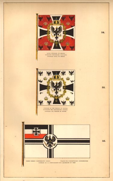 Associate Product PRUSSIAN/NORTH GERMAN CONFEDERATION FLAGS. Royal/Princes Standard. Ensign 1873