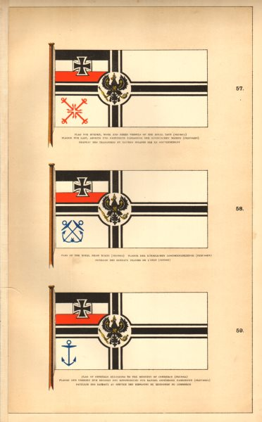 Associate Product PRUSSIAN ROYAL MARITIME FLAGS.Navy hired vessel Pilots Ministry of Commerce 1873