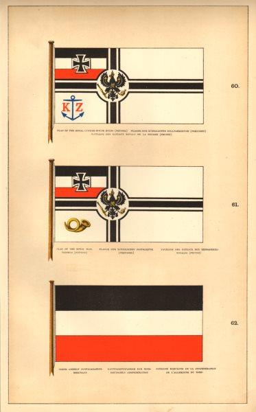 PRUSSIAN/N. GERMAN CONF. MARITIME FLAGS. Royal Custom-House/Mail. Merchant 1873