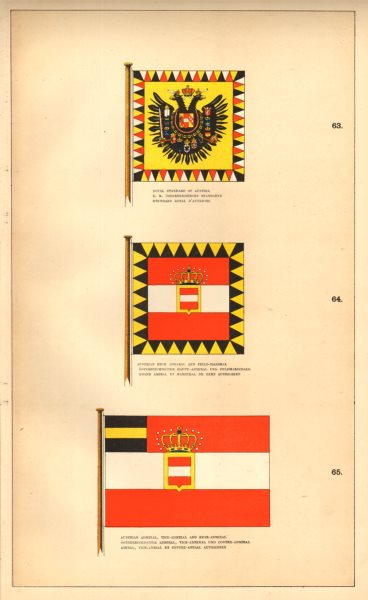 Associate Product AUSTRIAN FLAGS.Royal Standard. High/Vice- Admiral Field-Marshal. Osterreich 1873