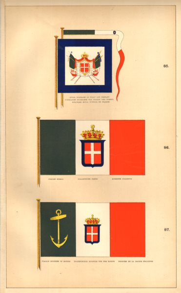 Associate Product ITALIAN ROYAL FLAGS. Royal Standard/pennant.Ensign.Minister of Marine.Italy 1873