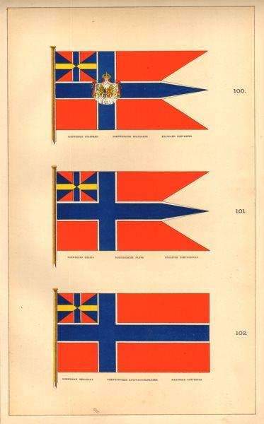 Associate Product NORWEGIAN MARITIME FLAGS. Standard, Ensign & Merchant. Norway. HOUNSELL 1873