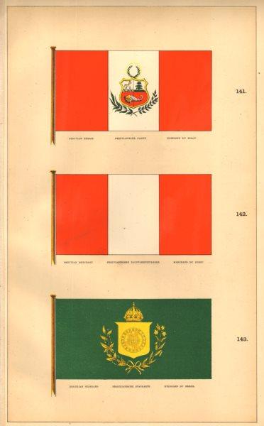 Associate Product SOUTH AMERICAN MARITIME FLAGS. Peruvian Ensign/Merchant. Brazilian Standard 1873