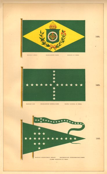 BRAZILIAN MARITIME FLAGS. Ensign, Jack & distinguishing Pennant. HOUNSELL 1873