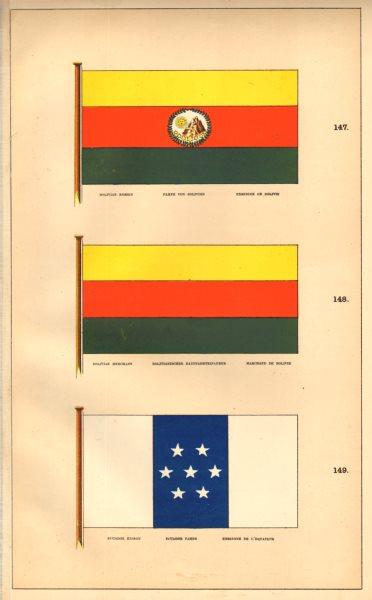 Associate Product SOUTH AMERICAN MARITIME FLAGS. Bolivia Ecuador Ensign Merchant. HOUNSELL 1873