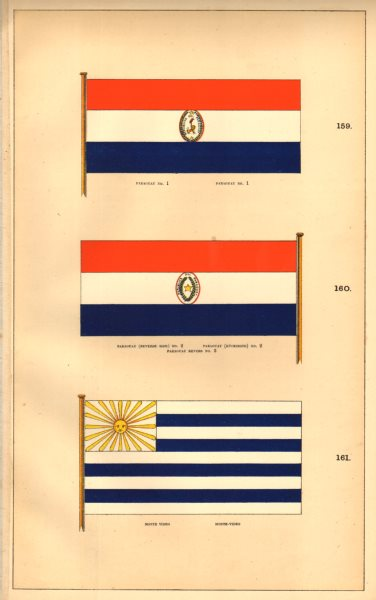 """Associate Product PARAGUAY/URUGUAY FLAGS. Paraguay No 1 & 2 (Reverse).""""Monte video"""". HOUNSELL 1873"""
