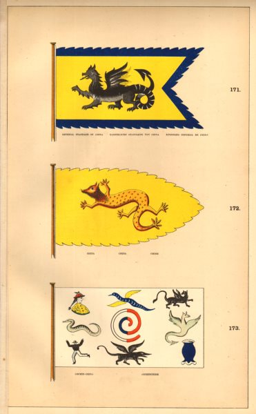 Associate Product CHINESE & COCHIN-CHINA FLAGS. China Imperial Standard. Cochinechine/Vietnam 1873