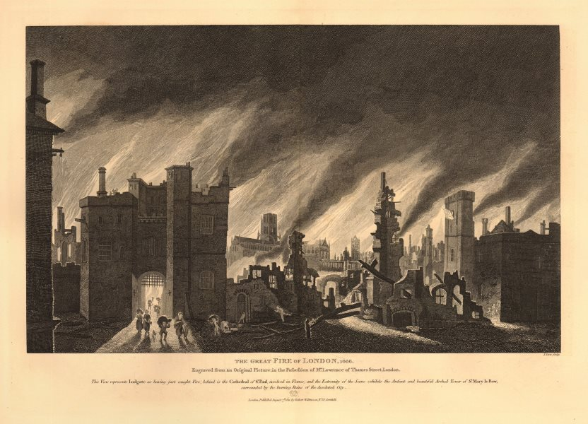 Associate Product The GREAT FIRE OF LONDON 1666. Ludgate St Paul's Cathedral St Mary-le-Bow 1834