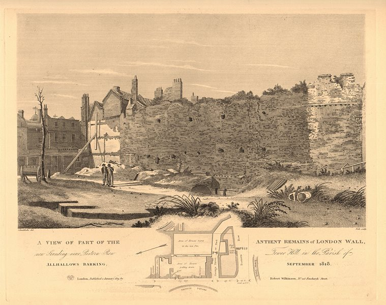 Associate Product LONDON WALL remains, Postern Row, Tower Hill. Trinity Square 1834 old map