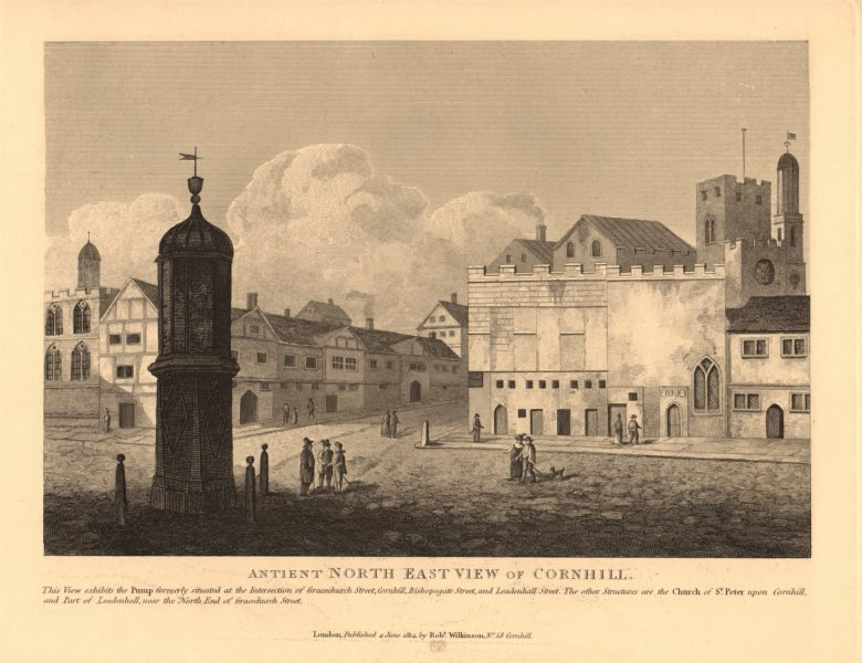 Associate Product CORNHILL. North east view of pump & St Peter upon Cornhill. City of London 1834