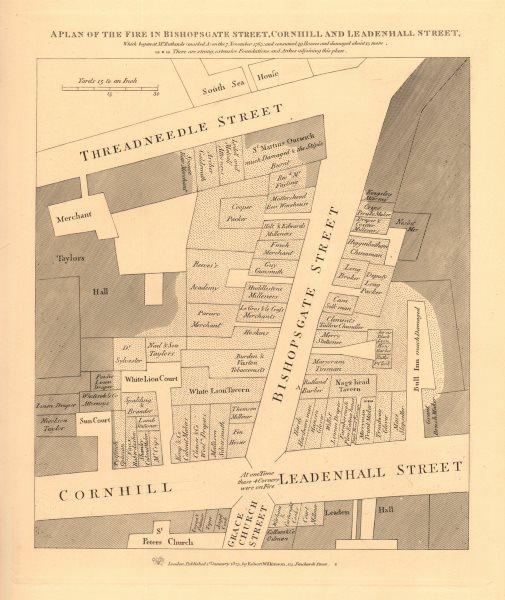 Associate Product A plan of the 1765 BISHOPSGATE STREET FIRE. Cornhill Threadneedle St. 1834 map