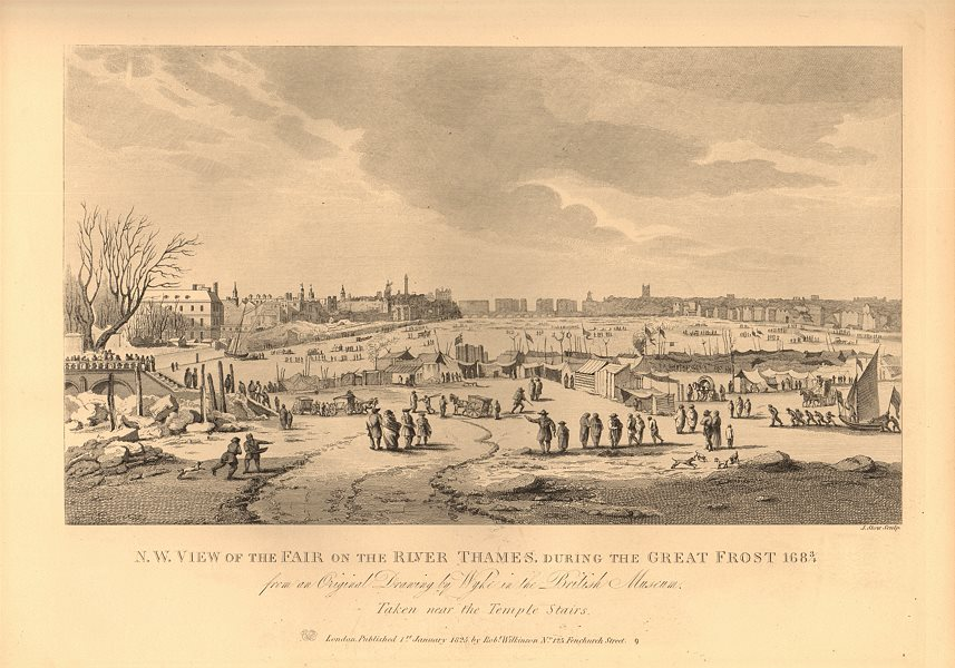 Associate Product RIVER THAMES FROST FAIR, 1684-84. North west view. London. WILKINSON 1834