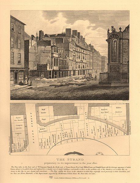 THE STRAND 1810 improvement plan. Essex-Arundel Street Milford Lane 1834 map